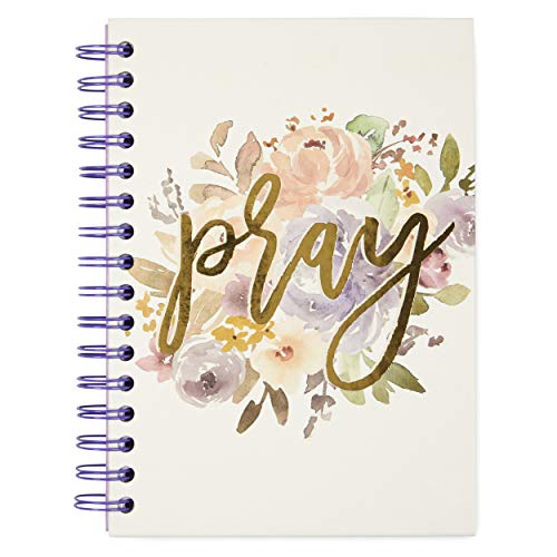 """Small Hardcover Spiral Bound Themed Notebook � Compact Lined 100 Page 6""""x 8.5"""" Notepad Journal/Personal Diary � Colorful Cover Design with Watercolor Floral Print and Inspiring Quote �Pray�"""