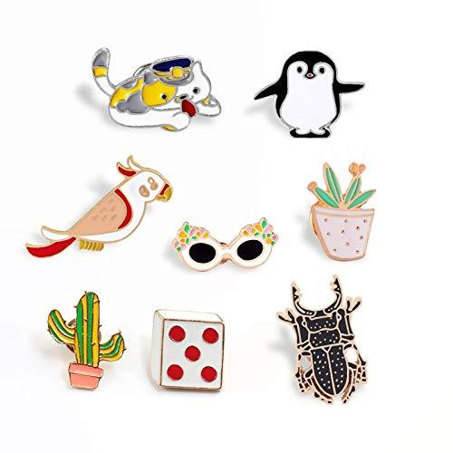 ZSCZQ Animal Broche Cat Insect Pinguin Cute Badge Pins Würfel Kaktus Brillen Jacken Anstecknadel Rucksack Button Broschen Schmuck Kid Geschenk Insekt