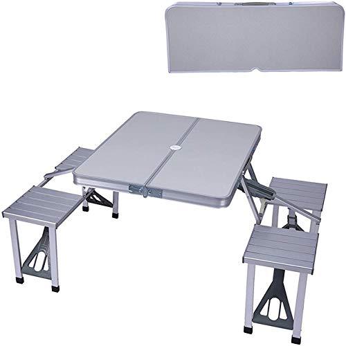 HJFGSAK Mesa Plegable Juego de Silla de Mesa de Maleta de Aluminio Plegable portátil, Mesa de Picnic para Acampar con 4 Asientos, Orificio para Paraguas para Fiesta, Plateado, Estados Unidos