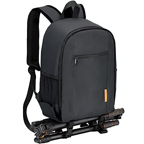 TARION カメラバッグ 大容量 軽量 コンパクト 三脚収納 カメラバックパック レインカバー付き カメラリュック ブラック TBS