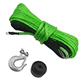 """TYT 3/16"""" x 50ft Synthetic Winch Rope, 7000lb Winch Cable with Black Protective Sleeve Winch Synthetic Rope with Sheath, 12 Strands Braided Synthetic Winch Cable for ATV UTV SUV Winch Rope (Green)"""