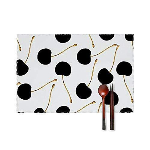 SedExd Un Ensemble de 4 Sets de Table Table Home Garden Barbecue Dessous de Verre décoratifs Blanc 45x30cm,Tapis de Table antidérapant Lavable et résistant à la Chaleur-Cerise