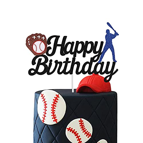 Baseball Cake Topper Happy Birthday Baseball Softball Player Themed Cake Decoration for Men Sport Boys Birthday Party Sports Event Party Supplies