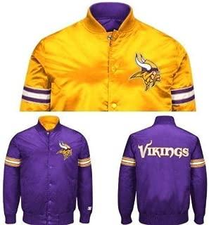 Licensed Sports Apparel Minnesota Football Vikings Men's Reversible Button Up Starter Satin Jacket