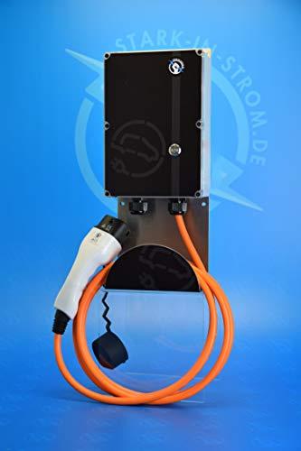 stark-in-strom.de Wallbox 11 kw. Easy inkl. FI/RCD-Typ B -Allstromsensitiv- / Inkl. Zuleitung 1,5 Meter mit 16A CEE Stecker