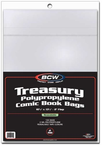 BCW 1-TB-R Resealable Treasury Comic Book Cover Bags