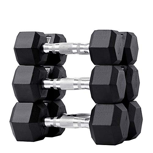 papababe 120LB Dumbbell Set Rubber Coated Hex Dumbbell Free Weights Dumbbells Set (A Pair of 15 20 25LB Dumbbell)