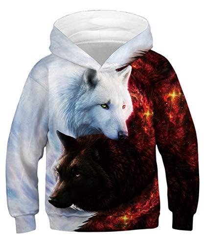 TUONROAD Kind Pullover Mädchen Jungen Hoodies 3D Printed Wolf Sweatshirts Neuheit Kapuze Pullover M