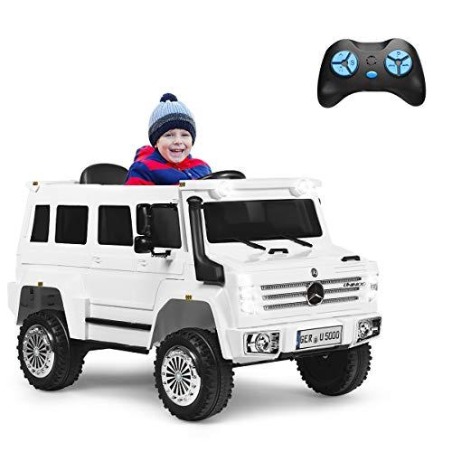 COSTWAY 12V Mercedes Benz Eletro Kinderauto mit Radiofunktion | Musik | LED Lichter | Soundeffekt | USB | 3 Geschwindigkeiten | Vorwärts- und Rückwärtsgang | 2,4G Fernbedienung | 2 Türen zum Öffnen