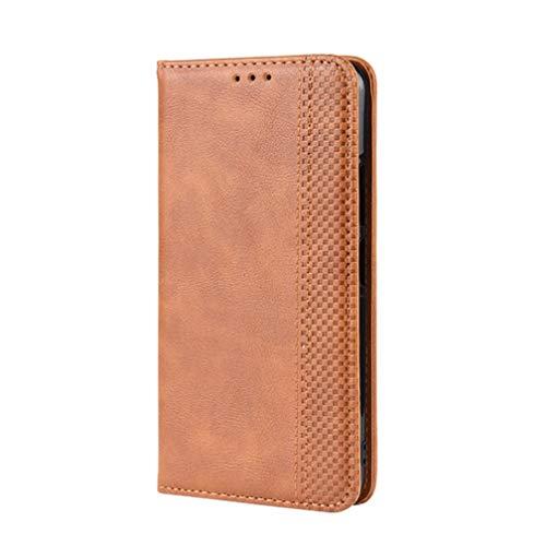 KERUN Hülle für Xiaomi Mi 10T Pro 5G, Leder Flip Klappbar Lederhülle, TPU Folio Flip Wallet Cover Stand [Kartenslots] Schutzhülle Hülle für Xiaomi Mi 10T Pro 5G. Braun