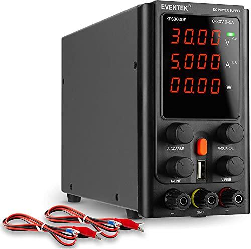 Fuentes de Alimentación Regulables, eventek Ajustable Fuente de alimentación 30V 5A de Regulada con Pantalla LED de 4 dígitos, Interfaz USB de 5V2A, Cable de Cocodrilo/líneas de Prueba