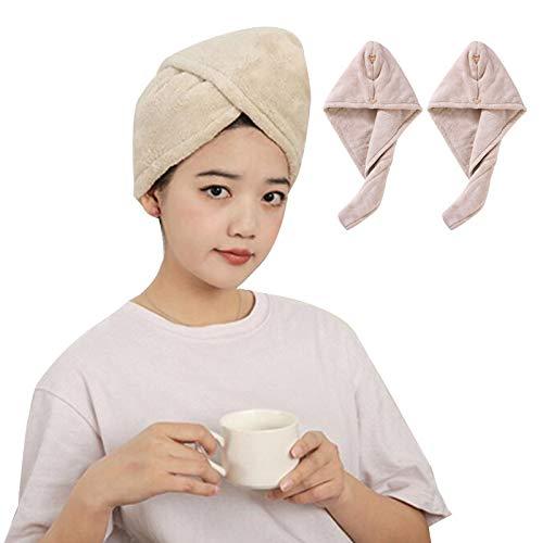 WFF sombrero 2 Paquete Mujeres Peluquería Wrap, Turbante de Pelo de Microfibra con Doble Botón, Sombrero de pelo seco, Tapas de Ducha de baño Toalla de secado 9.05 pulgadas x 25.5 pulgadas punto sombr