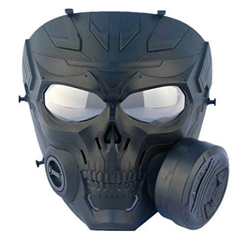 FOJMAI Attrappe mit transparenten Gläsern, Anti-Beschlag-Gas-Gesichtsmaske mit Turbo-Lüfter, taktischer Airsoft, Paintball-Schutz, mechanischer Totenkopf-Maske
