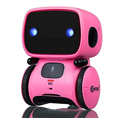 Contixo R1 Learning Educational Kids Robot Toy Talking Speech Recognition Recording and Voice Controlled Interactive Touch Sensor Smart Robotics with Singing, Dancing, Gift for Kids Age 3+ (Megenta)