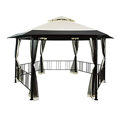 FAB BASED Hexagonal Frame Gazebo with Mesh Curtains,15.6' x 9.35' Patio Tents,Wind Proof Fabric Canopy for Outdoor