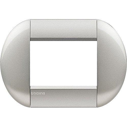 BTicino Livinglight Placca, 3M, Forma Tonda, Silver