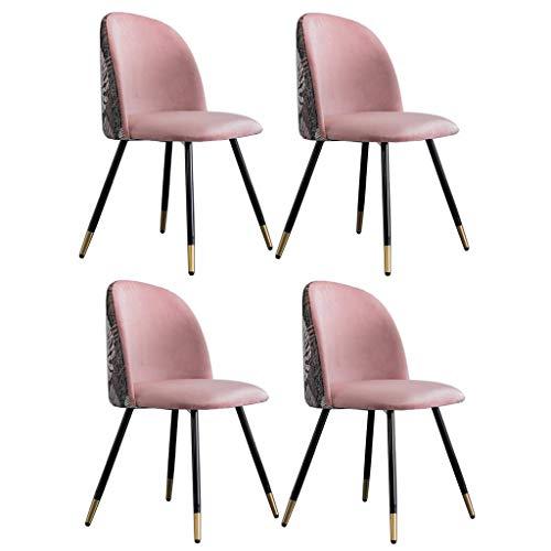 WYBW Juego de 4 sillas de comedor para el hogar, sillas de comedor, sillas de cocina, estilo retro, bordado de terciopelo, patchwork salón, asiento tapizado con patas de metal, diseño moderno, F