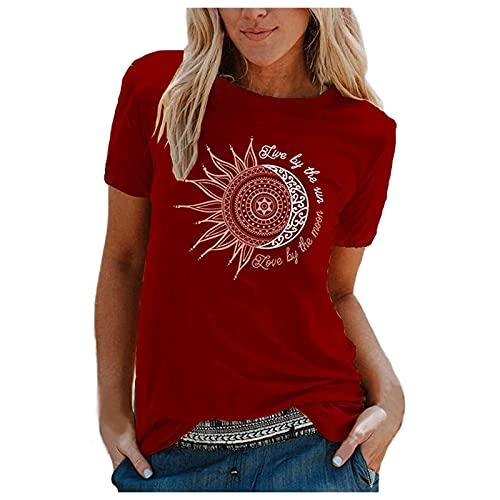 T-Shirt Haut à Col Rond Manches Courtes pour Femme, Chemisie