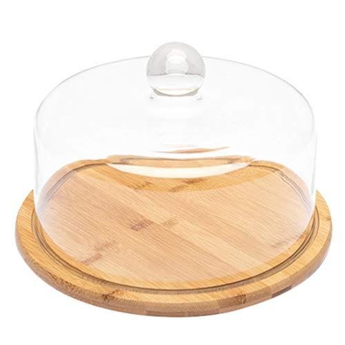 Lurrose Campana de cristal para tartas, con plato de madera, para servir queso, para cocina, fiestas al aire libre