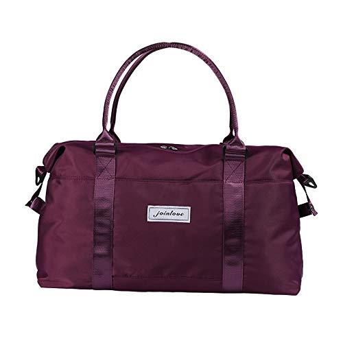 YAOUYYYSN Bolsa de viaje femenina, portátil, ligera, bolsa de almacenamiento de viaje de corta distancia, bolsa de equipaje con gran capacidad, color morado (se puede hacer geezogen en la media)