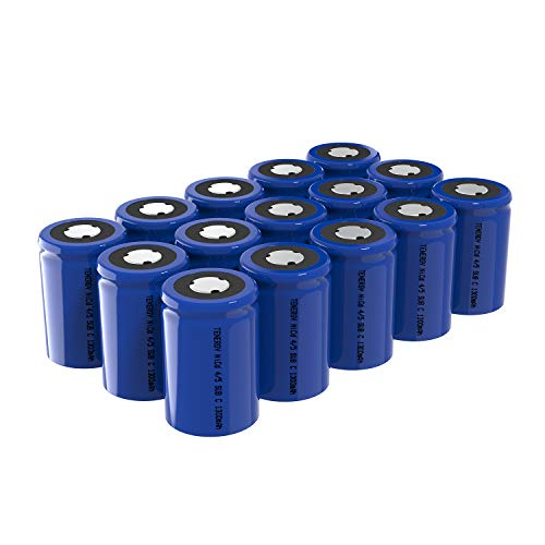 Tenergy 4/5 SubC 1300mAh NiCD Rechargeable Batteries, Flat top - 15 Pack