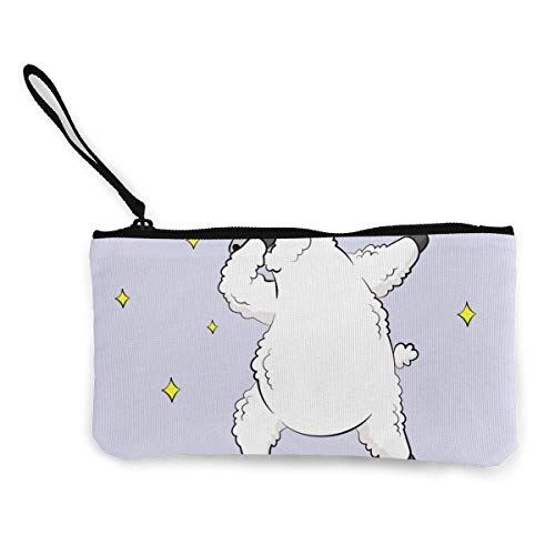 Yuanmeiju Cartoon Lama Doodle Canvas Wallet Exquisite Coin Purses Small Canvas Coin Purse is Used to Hold Coin Change, ID and Other
