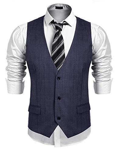 Burlady Weste Herren Anzug Western Weste Ärmellose V-Ausschnitt Slim fit Anzugweste Business Hochzeit Blau XL