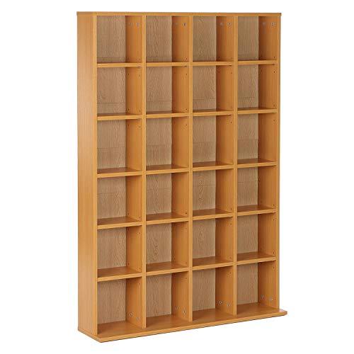 homcom Mobile Libreria Porta CD a Muro 24 Scompartimenti Regolabile in Altezza 130.5 × 89 × 20cm Legno Naturale
