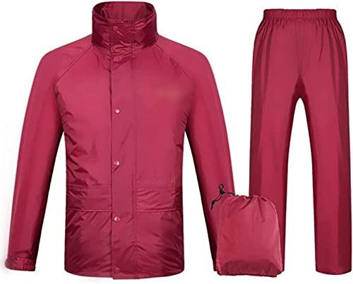 YXF Juego impermeable para hombre y mujer, impermeable, para la lluvia, chaqueta, pantalones, para trabajo, camping, pesca (color: rojo, tamaño: M - número)