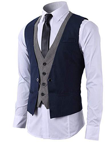 STTLZMC Hombre Chaleco de Traje Blazers Waistcoat sin Manga 2in1 Formal Boda Ceremonia,Azul,Large
