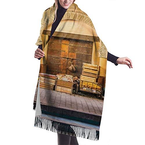 Bufanda de invierno clasica de otono para mujer, puerta tipica marroqui a la antigua medina mediterranea foto de entrada de arco historico, bufanda calida, suave, gruesa, grande, manta, chal, bufandas