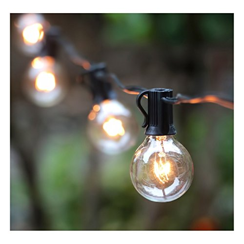 50FT G40 Outdoor Globe String Light Edison Pendant Black Light String for Indoor/Outdoor Holiday Decoration, Garden, Party, Backyard, Bistro, Pergola, Black Wire