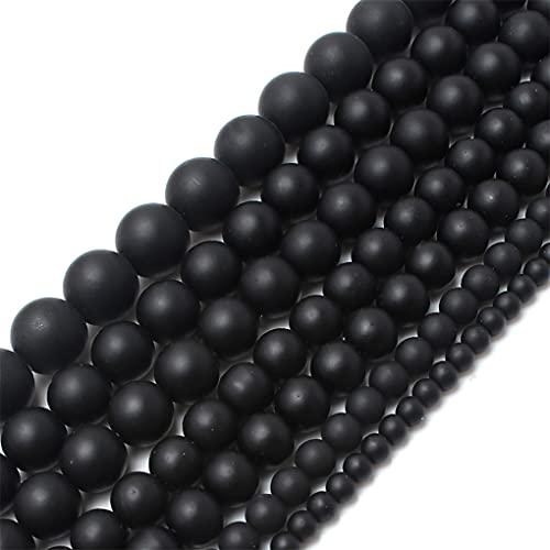Turquesas naturales piedra sedimentos jaspes redondos sueltos DIY perlas para hacer joyas pulseras de regalo de Navidad 15'' 4-12mm negro mate ónix 8mm 46pcs cuentas