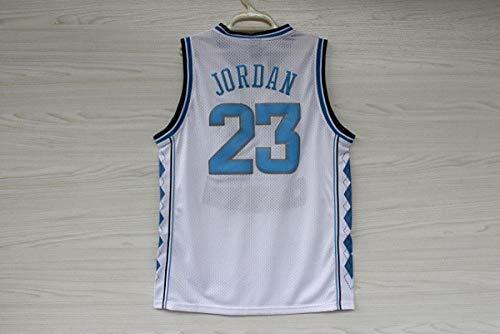 ZJFXSNEH Herren-Sportbekleidung NBA-Trikot Chicago Retro Netzstickerei Basketballtrikot Sportbekleidung North Carolina Weiß 23 L.