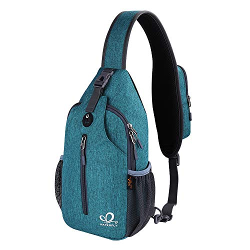 Waterfly Crossbody Sling Backpack Sling Bag Travel Hiking Chest Bags Daypack (Teal blue)
