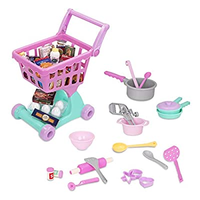 Play Circle by Battat – Complete Shopping Day & Cookware Set – 50Piece Toy Grocery Cart & Cooking Playset with Pretend Food & Kitchen Accessories for Kids Ages 3+