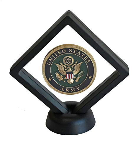 3D Floating Frame, Shadow Box, Medallion Medal Challenge Coin Chip Display Case Stand Holder Illusion Suspension Box (Black - Diamond Shape)