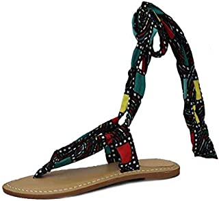 Saint G Womens Multi Tie Up Flat Sandals