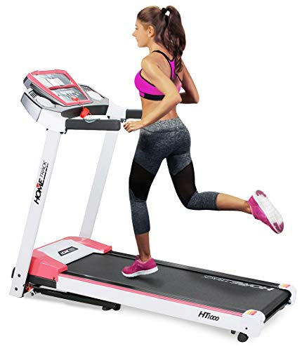 Miweba Sports elektrisches Laufband HT1000 - Incline 6{41f3da5584d1fd61b99f4c4de30977ad32d8ac866fb1f1151a2c1e2bfa87e482} - Klappbar - 1,75 Ps - 16 Km/h - 12+4 Laufprogramme - Tablet Halterung - Große Lauffläche (Weiß Pink)