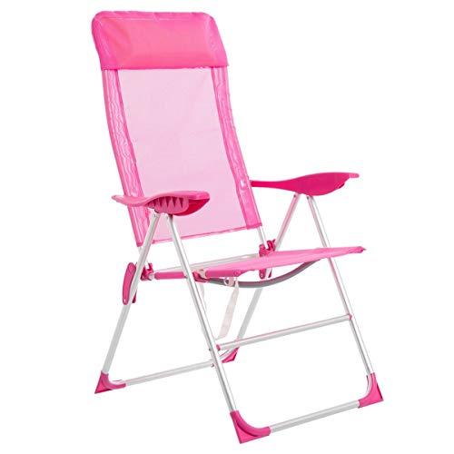 LOLAhome Sillón de Playa Plegable Rosa de Aluminio de 110x61x66 cm