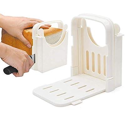 HYAM Bread Slicer, Adjustable Bread/Roast/Loaf Slicer Cutter,Folding Bread Toast Slicer Bagel Loaf Slicer Sandwich Maker Toast Slicing Machine with 5 Slice Thicknesses