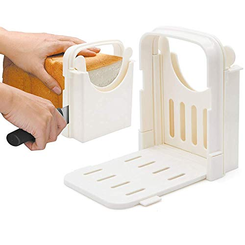 HYAM Bread Slicer, Adjustable Bread/Roast/Loaf Slicer Cutter,Folding Bread Toast Slicer Bagel Loaf Slicer Sandwich Maker Toast Slicing Machine with 5 Slice Thicknesses
