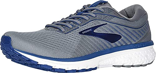 Brooks Men's Ghost 12 Running Shoe Grey/Alloy/Blue 12 2E US