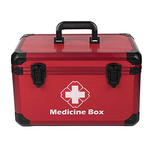Cofre De Medicamentos con Cierre De Seguridad - Caja Médica Caja De Primeros Auxilios con Bandeja Extraíble Y Compartimentos Separados Caja De Almacenamiento Aleación De Aluminio - 40x25x25cm ✅