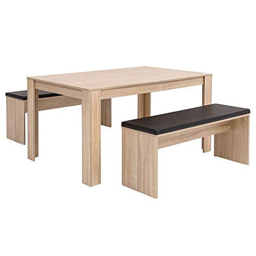 Esszimmer-Set Sonoma Eiche Esstisch mit 2 Bänken Holz Modern . Essgruppe Tischgruppe Küche Klein . Esszimmergarnitur Sitzgruppe Komplett . Esstischgruppe 3 Teilig Platzsparend HxBxT:76x140x90cm Braun