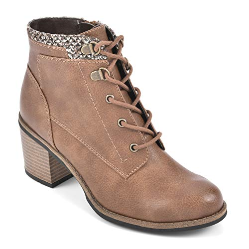 WHITE MOUNTAIN Shoes Delroy Women's Lace-up Stacked Heel Ankle Boot, Tan/Tumbled, 8 M