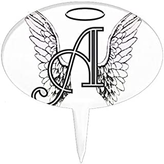 Cheyan Letter A Initial Monogram With Angel Wings & Halo Cake Topper