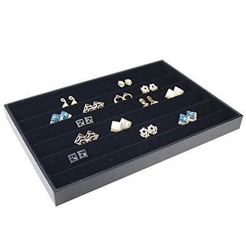 Monbedos opbergdoos voor sieradendisplay dienblad sieradendoos met vakjes sieraden-organizer cadeau-idee - zwart