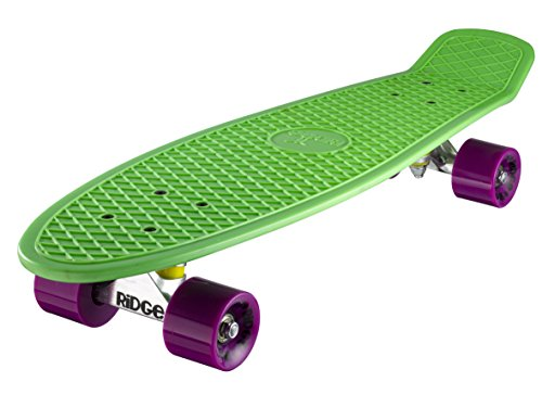 Ridge Skateboards 27 Inch Big Brother Retro Mini Cruiser Nickel Skateboard - UK Vervaardigd - groen, paars