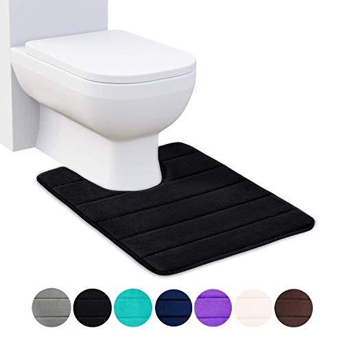 Homaxy Memory Foam rutschfeste Weiches Vorleger Toilette mit Ausschnitt 50 x 60 cm, Saugfähig Badematte Stand WC, Waschbar Badteppiche für WC, Schwarz